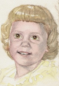Father's watercolor of a young Cindy